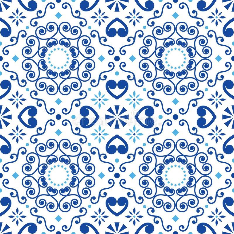 Teste padrão sem emenda da telha geométrica do vetor de Azulejo inspirado pela arte portuguesa, fundo marrom das telhas do estilo ilustração royalty free