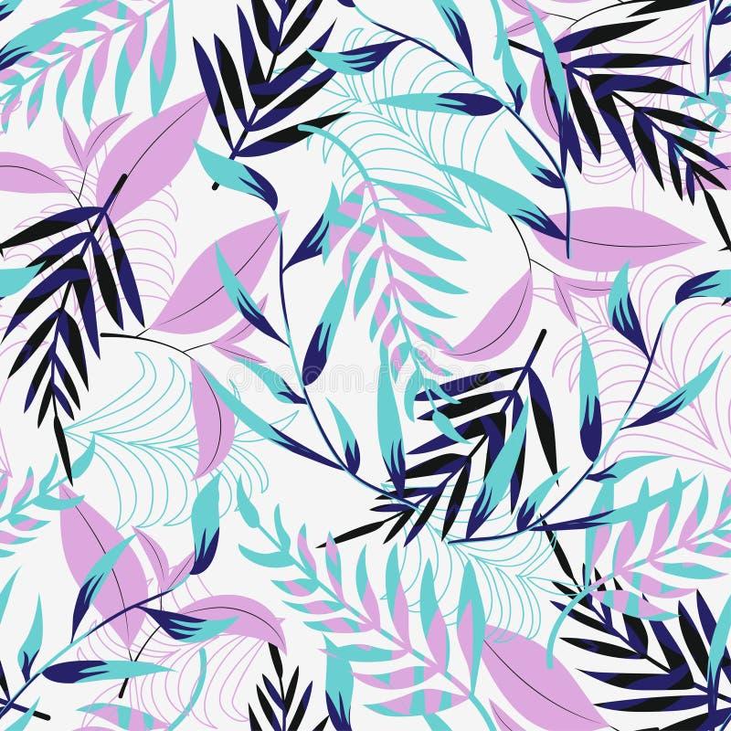Teste padrão sem emenda da tendência com as folhas e as plantas tropicais brilhantes em um fundo claro Projeto do vetor Cópia de  ilustração stock