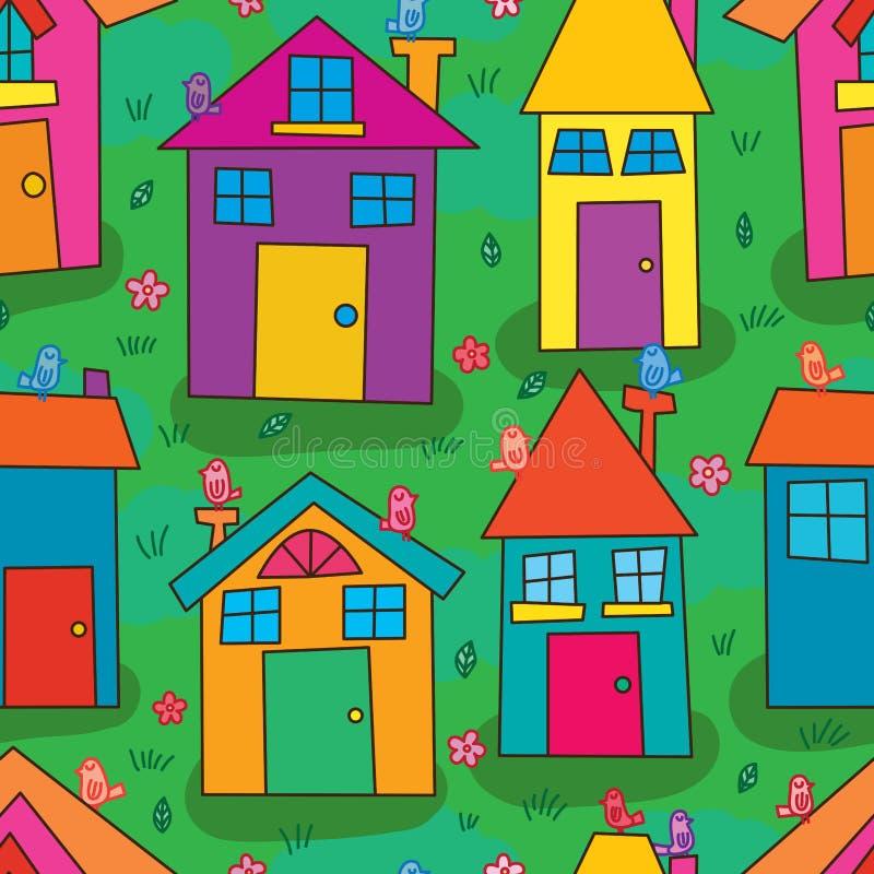 Teste padrão sem emenda da terra verde colorida à moda do pássaro da casa ilustração royalty free