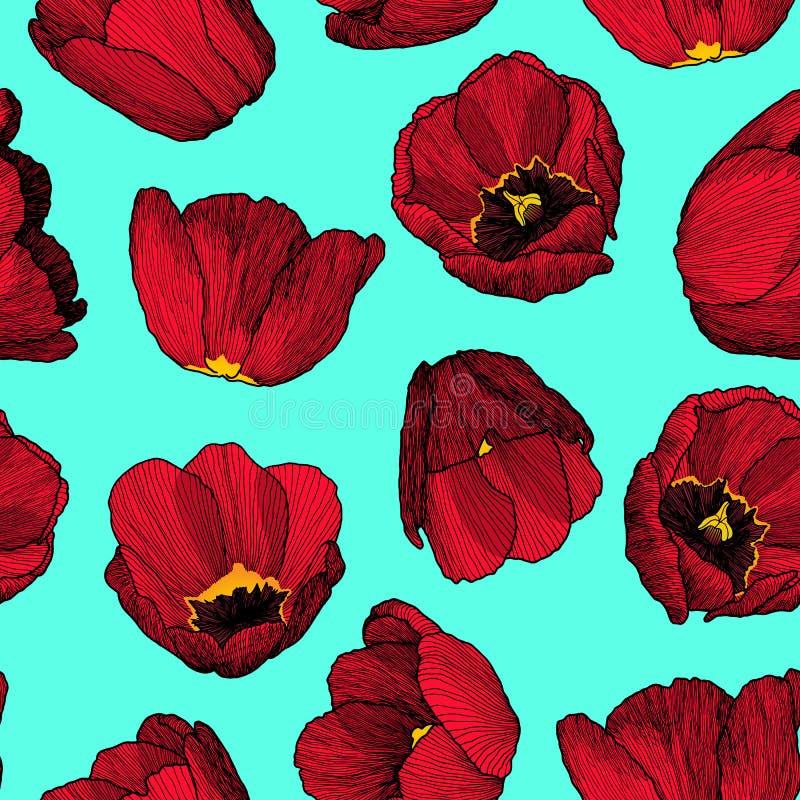 Teste padrão sem emenda da tinta desenhado à mão do gráfico de vetor da tulipa vermelha ilustração stock