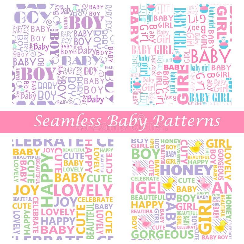 Teste padrão sem emenda da tipografia do bebê ilustração stock