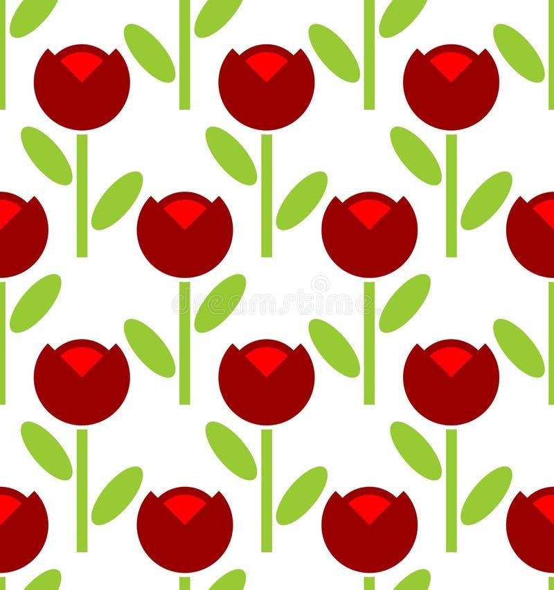 Teste padrão sem emenda da tulipa vermelha Fundo da flor do vetor Fabr retro ilustração stock