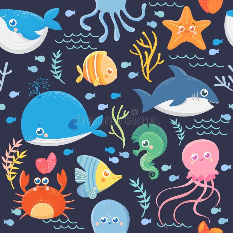 Teste padrão sem emenda da vida marinha ilustração do vetor