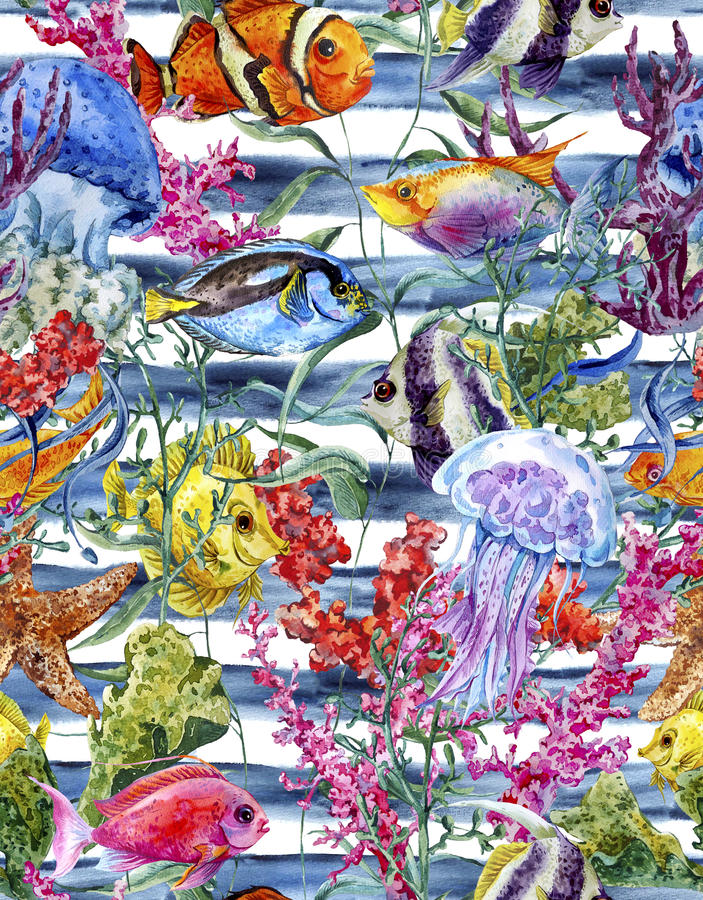 Teste padrão sem emenda da vida marinha da aquarela em um listrado ilustração do vetor