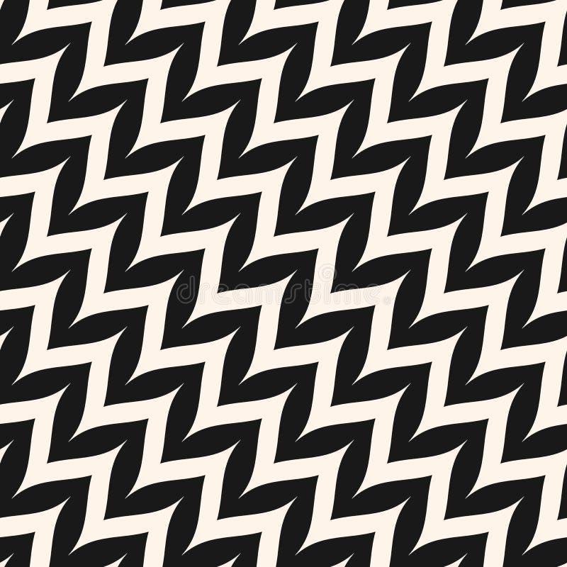 Teste padrão sem emenda da viga diagonal do ziguezague do vetor Ziguezague curvado ilustração do vetor