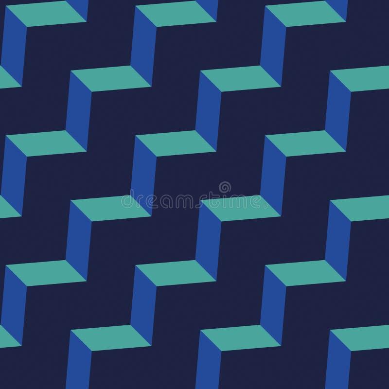 Teste padrão sem emenda da viga Ziguezague colorido do verde esmeralda na obscuridade - fundo azul fotos de stock