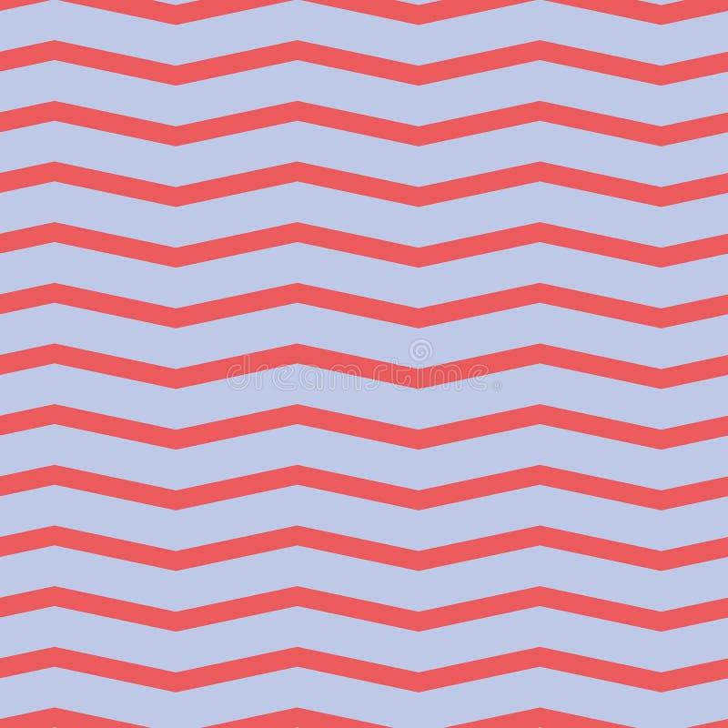 Teste padrão sem emenda da viga Ziguezague vermelho colorido no fundo roxo imagem de stock royalty free