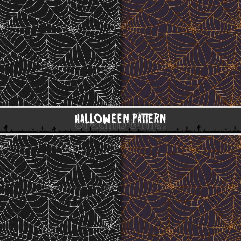 Teste padrão sem emenda da Web de aranha de Dia das Bruxas Projeto para o fundo, wa ilustração stock