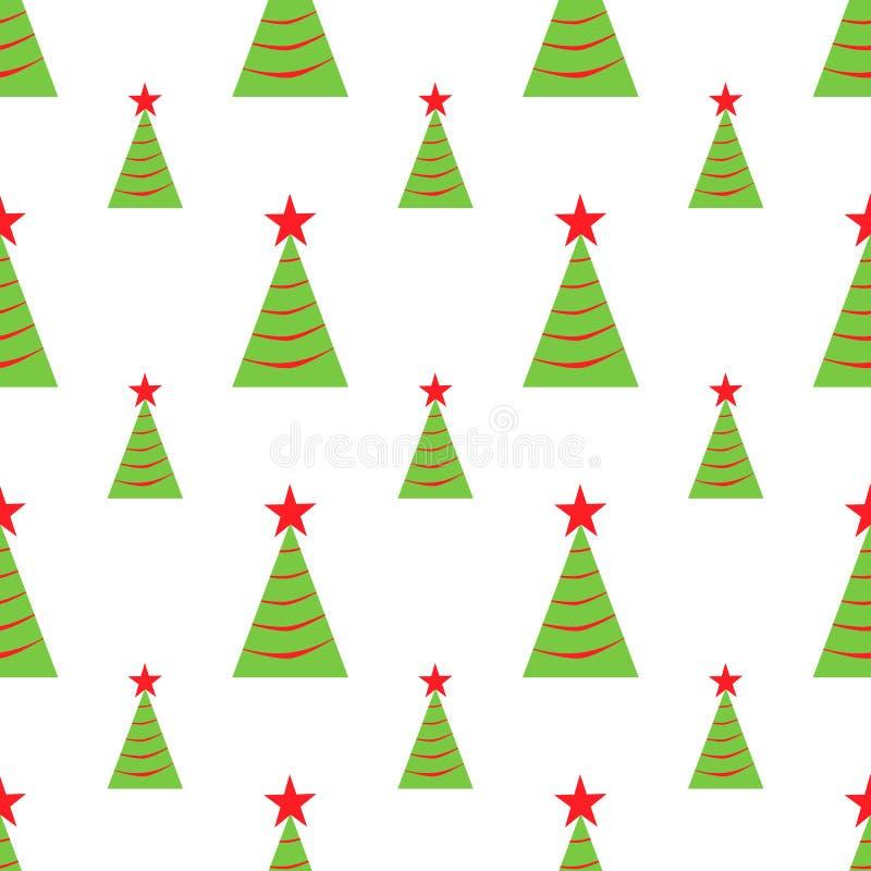Teste padrão sem emenda das árvores de Natal Ilustração do vetor Ícones verdes e vermelhos simples no fundo branco Feriados proje ilustração royalty free