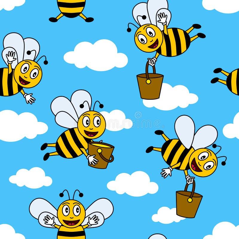 Teste padrão sem emenda das abelhas engraçadas dos desenhos animados ilustração stock