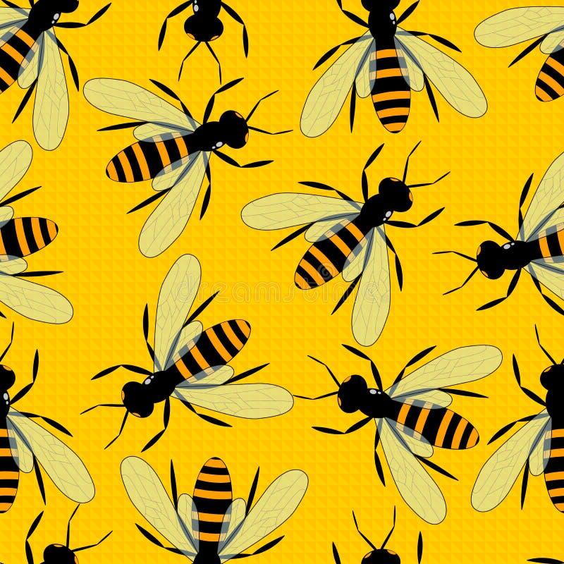 Teste padrão sem emenda das abelhas Fundo amarelo brilhante com grandes abelhas ilustração do vetor