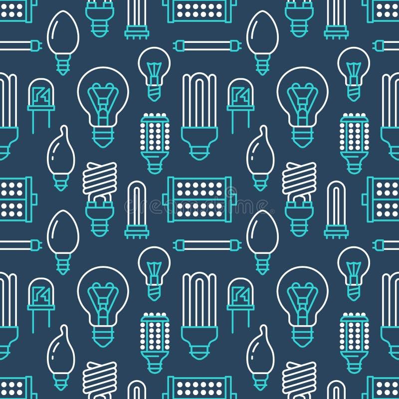 Teste padrão sem emenda das ampolas com linha lisa ícones Tipos das lâmpadas, fluorescente conduzidos, filamento, halogênio, diod ilustração do vetor