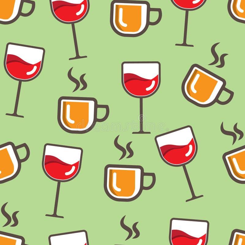 Teste padrão sem emenda das bebidas, simples e colorido imagem de stock