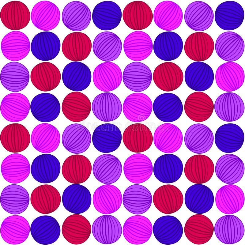 Teste padrão sem emenda das bolas listradas roxas ilustração royalty free