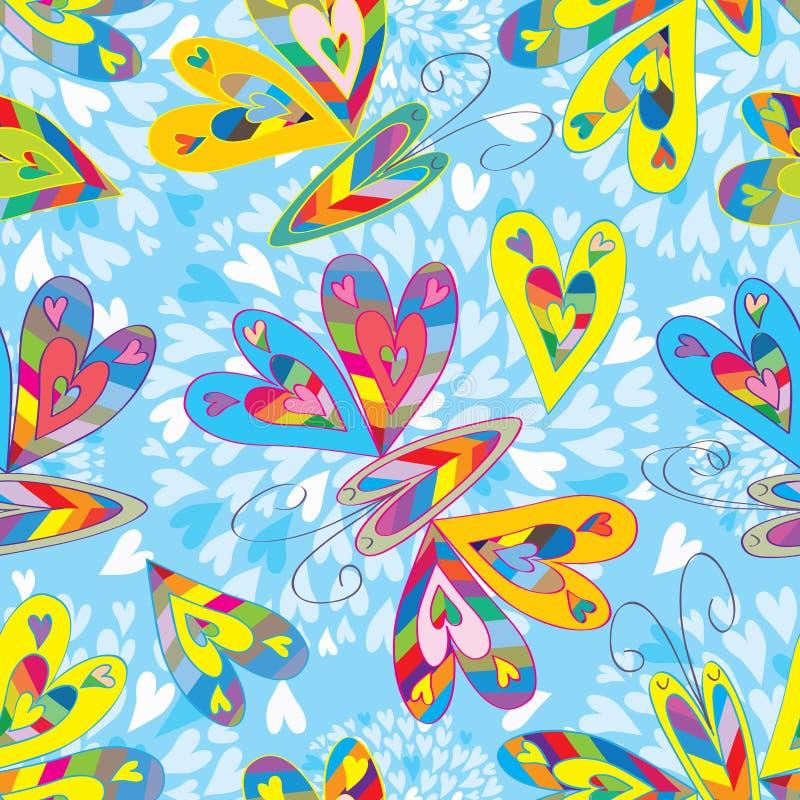Teste padrão sem emenda das borboletas coloridas do amor ilustração do vetor