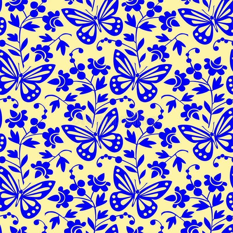 Teste padrão sem emenda das borboletas do vetor ilustração do vetor