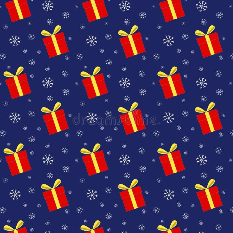 Download Teste Padrão Sem Emenda Das Caixas De Presente E Dos Flocos De Neve Ilustração Stock - Ilustração de vermelho, papel: 80100500