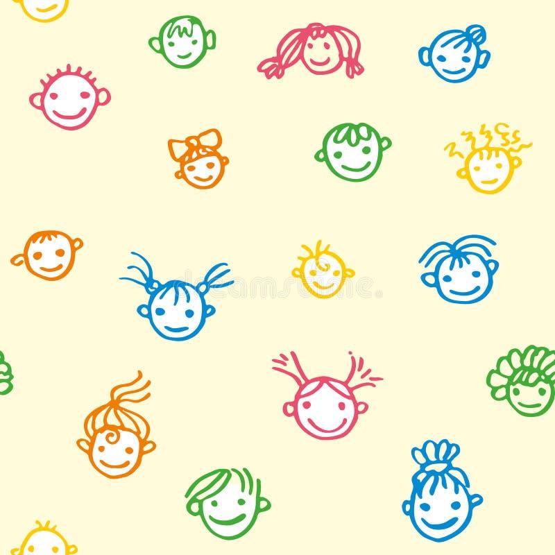 Teste padrão sem emenda das caras de sorriso do bebê em um claro - fundo amarelo Crian?as felizes Ilustração da garatuja tirada p ilustração stock