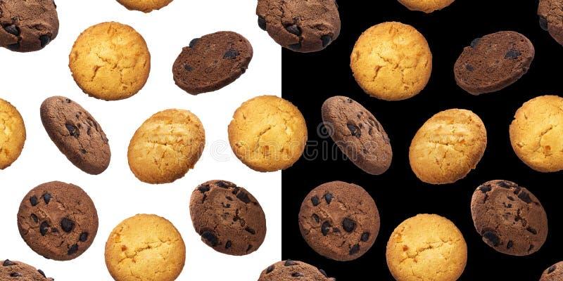 Teste padrão sem emenda das cookies da microplaqueta da farinha de aveia, isolado nos fundos brancos e pretos foto de stock royalty free