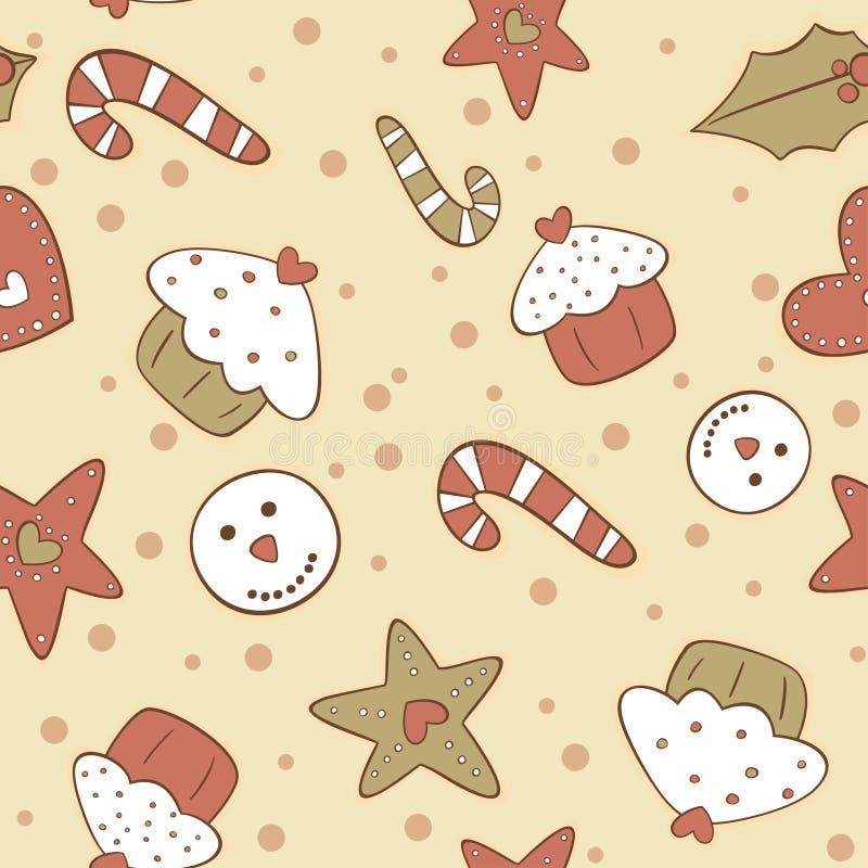 Teste padrão sem emenda das cookies do pão-de-espécie do Natal ilustração royalty free