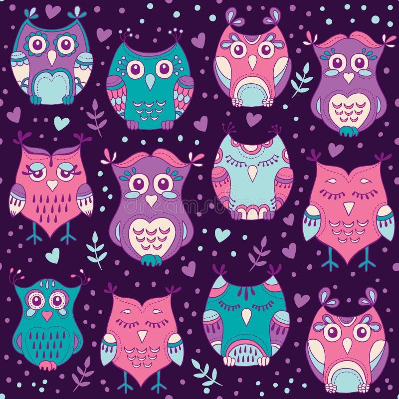Teste padrão sem emenda das corujas bonitos da floresta Entregue a pássaros bonitos tirados o fundo nas cores de roxo, do azul e  ilustração do vetor