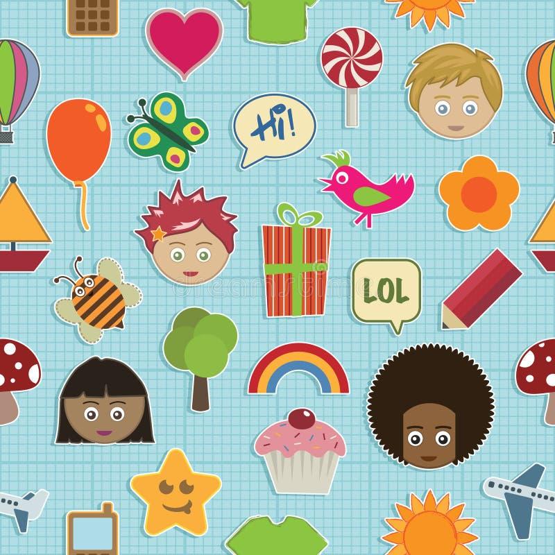 Teste padrão sem emenda das crianças ilustração stock