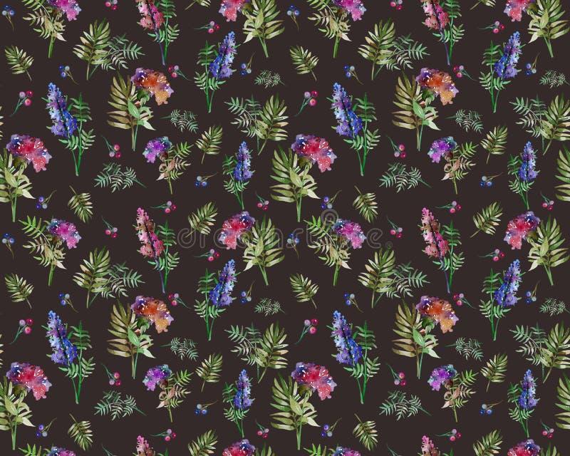 Teste padrão sem emenda das ervas florais do vintage com flores e folha da floresta Cópia para o papel de parede de matéria têxti ilustração royalty free
