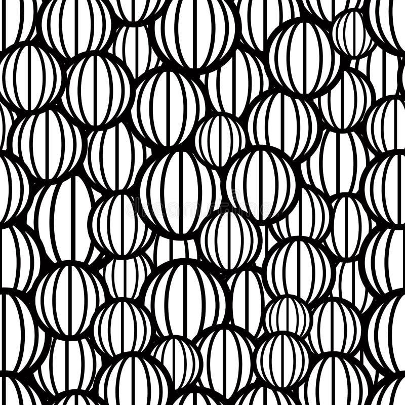 Teste padrão sem emenda das esferas preto e branco ilustração do vetor