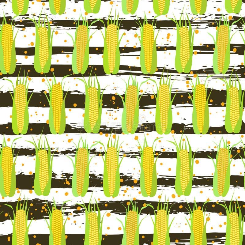 Teste padrão sem emenda das espigas do milho ilustração do vetor