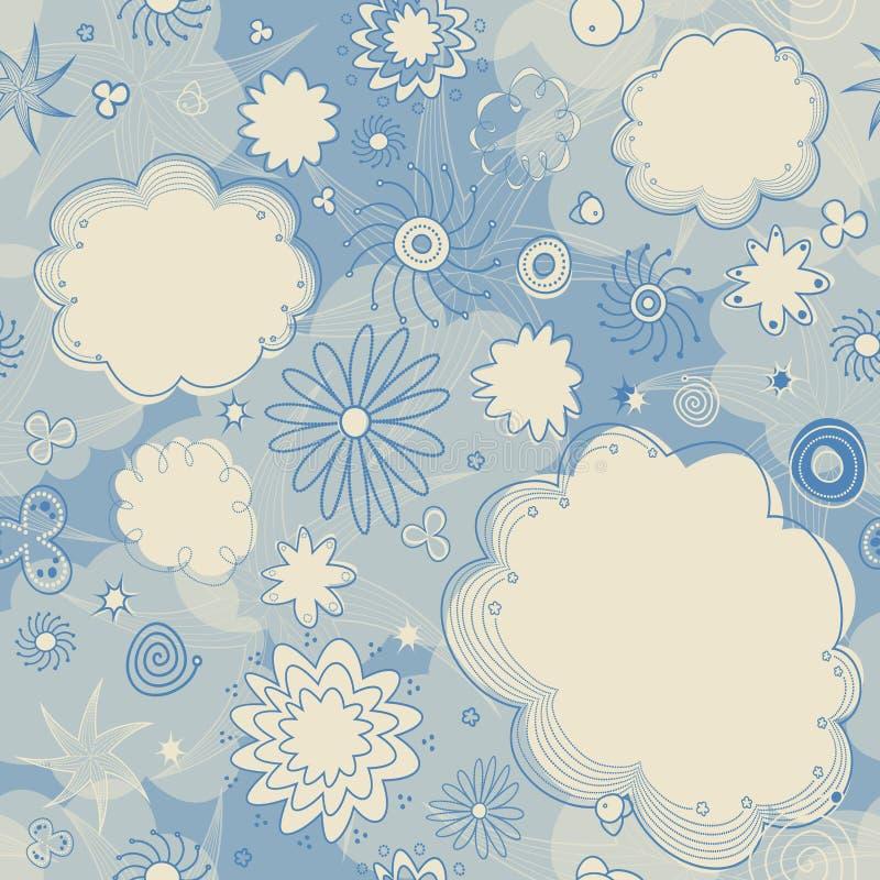 Teste padrão sem emenda das estrelas e das nuvens ilustração do vetor