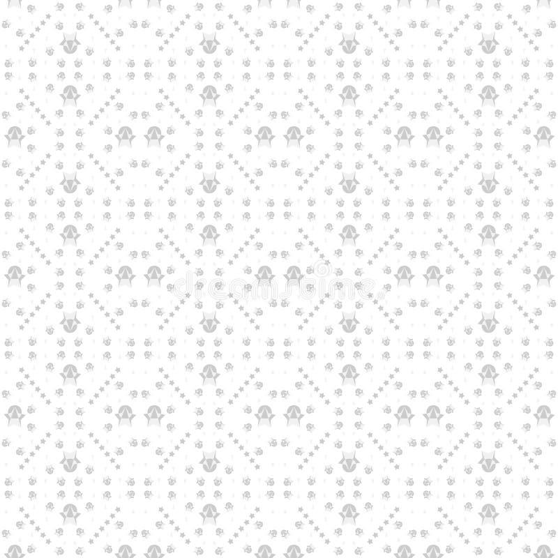 Teste padrão sem emenda das estrelas e formas geométricas em cores cinzentas no fundo branco, cor preto e branco Illus liso do ve ilustração do vetor