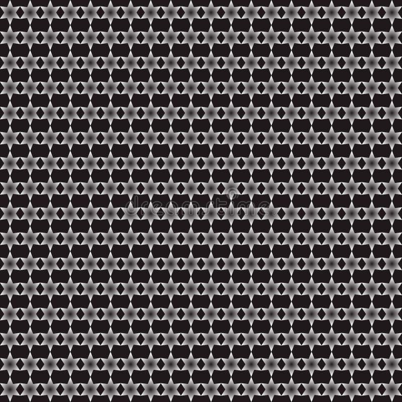 Teste padr?o sem emenda das estrelas geom?tricas preto e branco ilustração do vetor