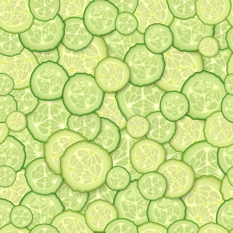Teste padrão sem emenda das fatias de pepino ilustração stock