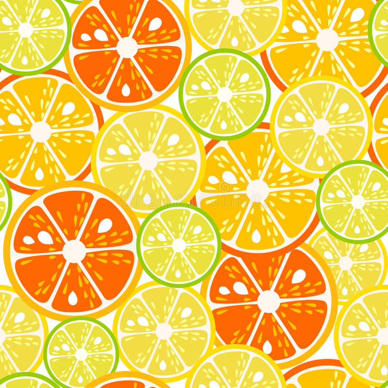 Teste padrão sem emenda das fatias do cal, do limão e da laranja Ilustração do vetor ilustração stock