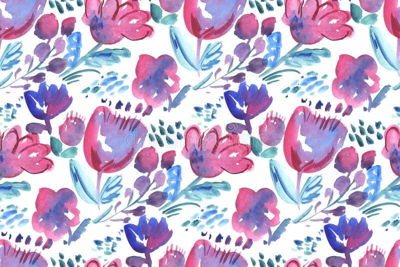 Teste padrão sem emenda das flores decorativas ilustração do vetor