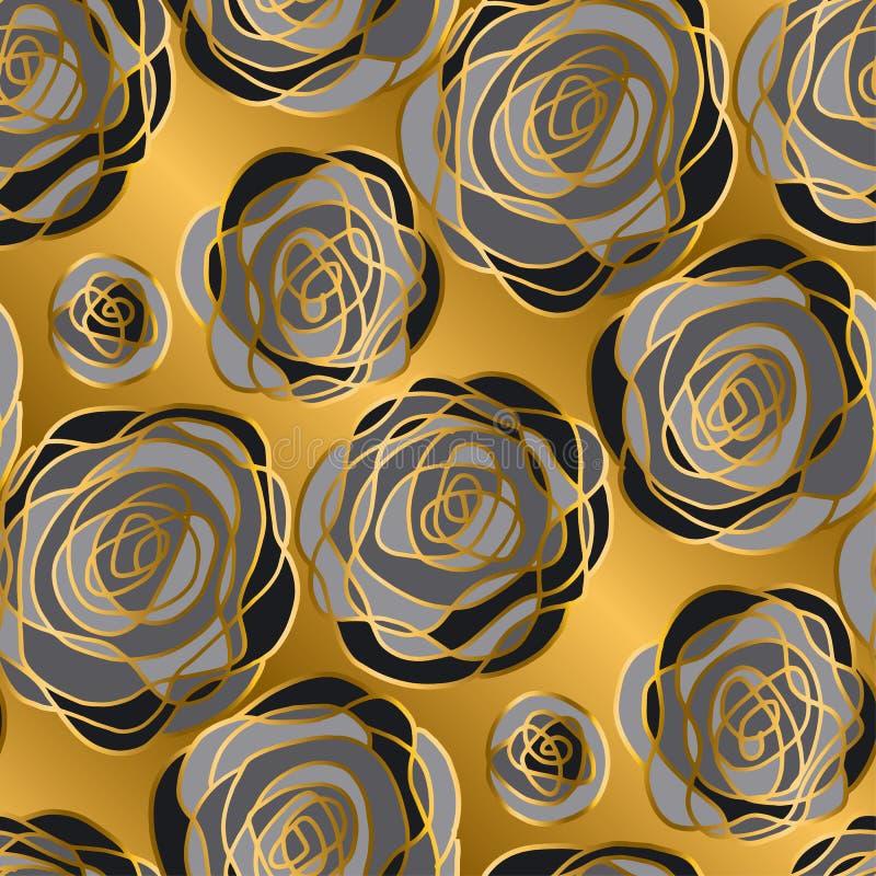 Teste padrão sem emenda das flores decorativas luxuosas da rosa do ouro ilustração do vetor