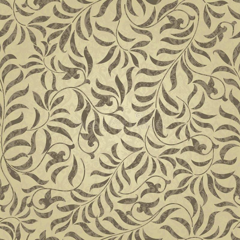 Teste padrão sem emenda das flores do ouro Fundo floral abstrato do vetor Projeto decorativo dourado com formas e elementos geomé ilustração royalty free