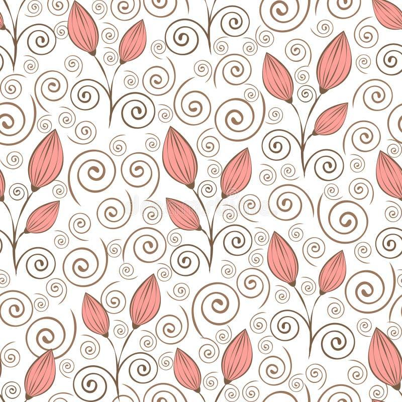 Teste padrão sem emenda das flores do sumário, desenho da mão do esboço, ilustração minimalistic, fundo do vetor Flores em botão  ilustração royalty free