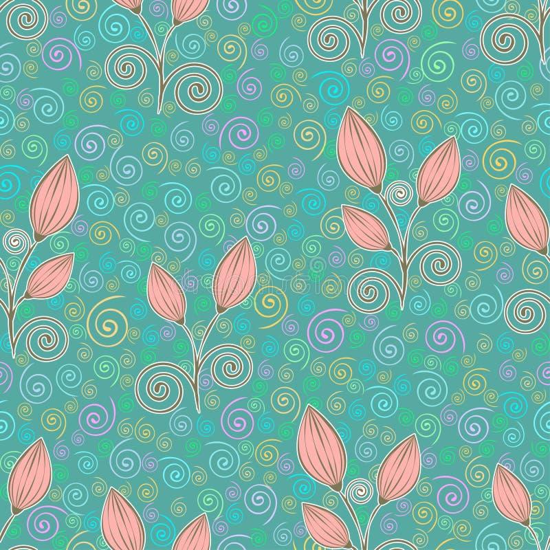 Teste padrão sem emenda das flores do sumário, desenho de esboço, ilustração minimalistic, fundo do vetor Botão fechado pastel do ilustração royalty free