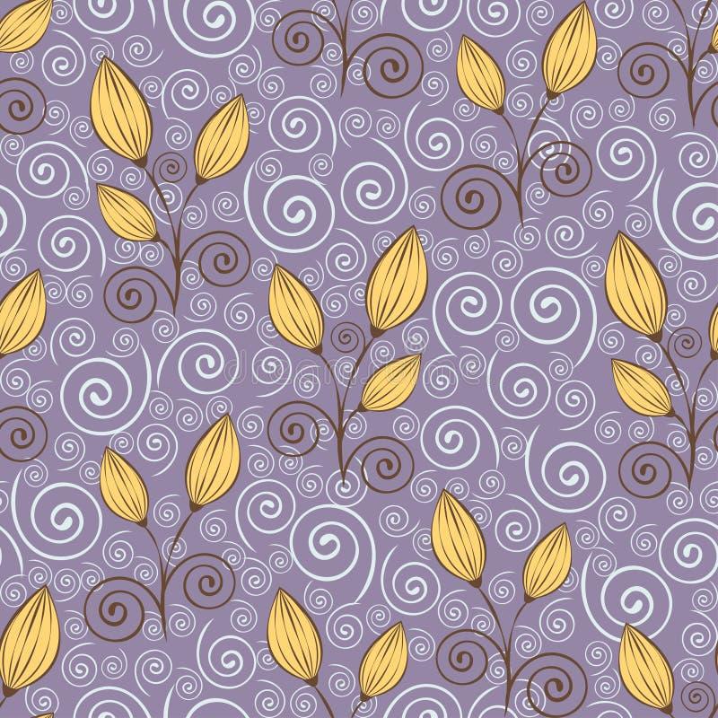 Teste padrão sem emenda das flores do sumário, desenho de esboço, ilustração minimalistic, fundo do vetor Botões fechados amarelo ilustração stock