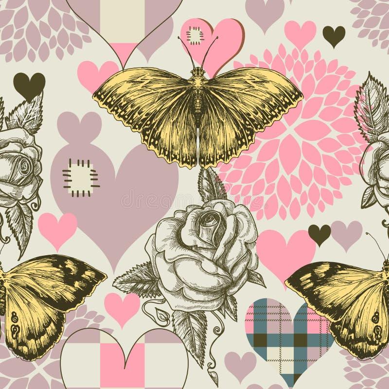 Teste padrão sem emenda das flores dos corações ilustração do vetor