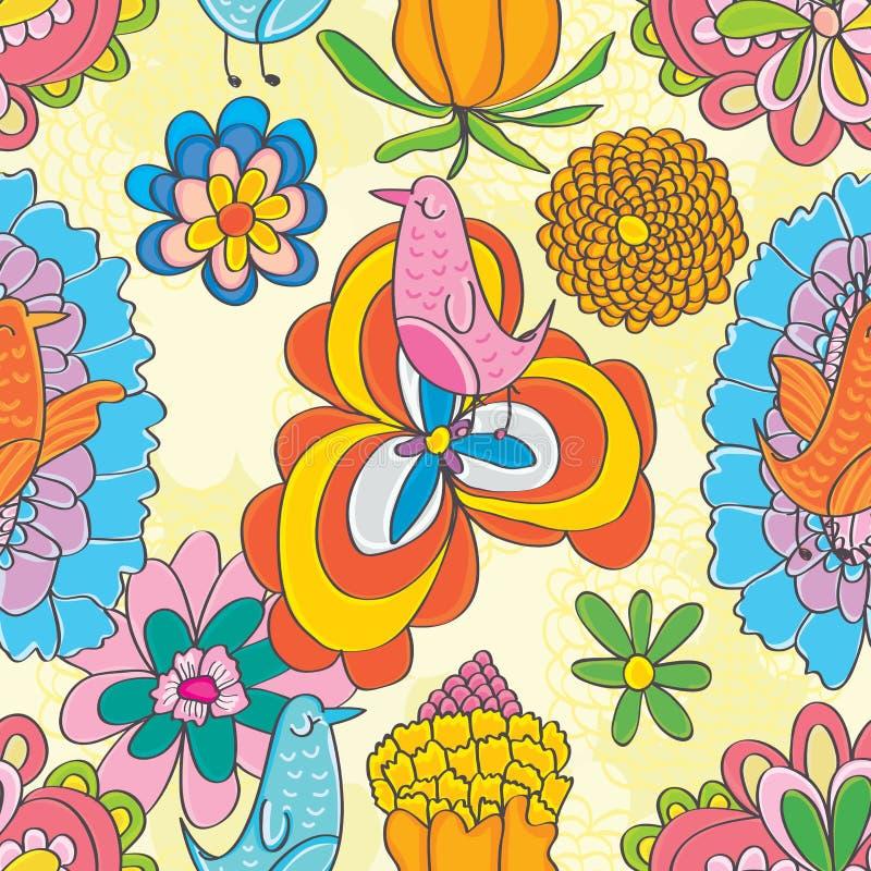 Teste padrão sem emenda das flores felizes do pássaro da música ilustração stock