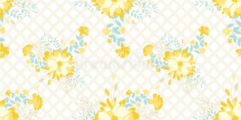 Teste padrão sem emenda das flores pintados à mão amarelas do vetor no fundo cruzado bege claro ilustração stock