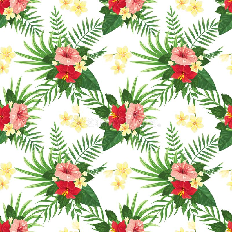 Teste padrão sem emenda das flores tropicais Flor tropica do verão, folhas das plantas selvagens e fundo floral do vetor do parti ilustração stock