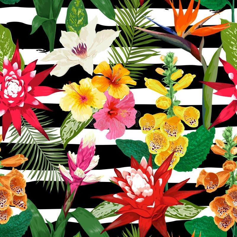 Teste padrão sem emenda das flores tropicais Fundo floral do verão com Tiger Lily Flower e o Hibiskus Projeto de florescência ilustração stock