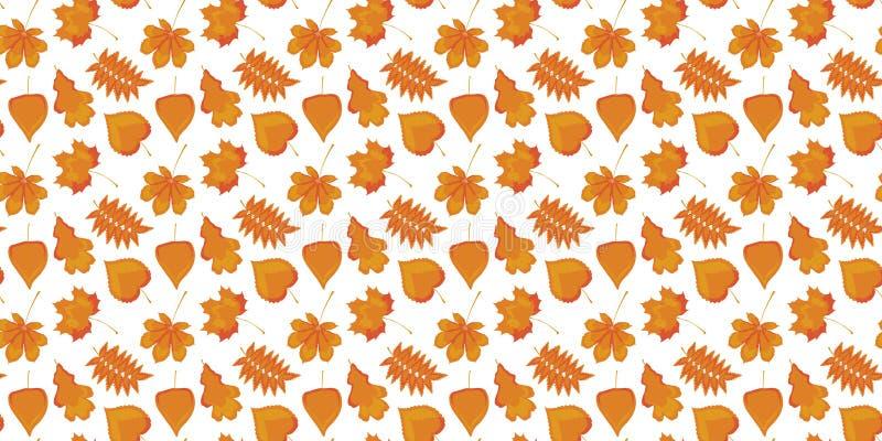 Teste padrão sem emenda das folhas alaranjadas amarelas do outono do vidoeiro, da castanha, do carvalho, do Linden, do Rowan e do ilustração do vetor