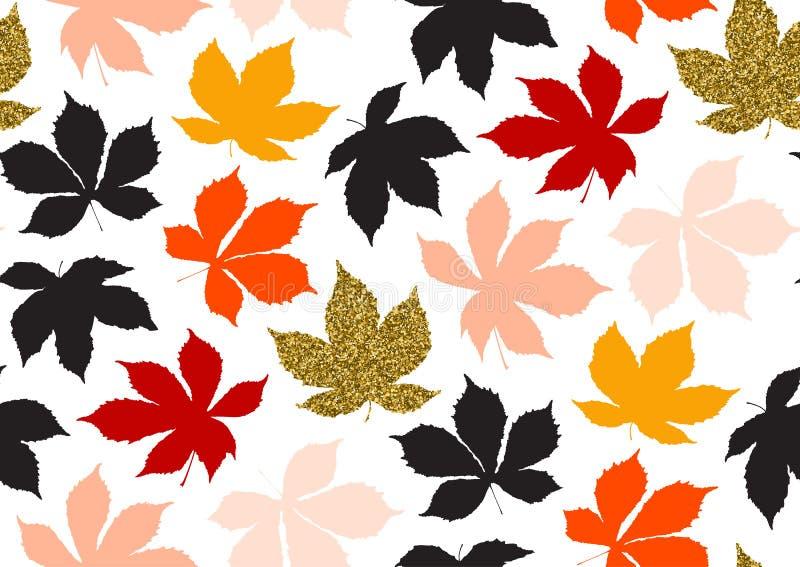 Teste padrão sem emenda das folhas da queda com textura do brilho do ouro Ilustração do vetor para o fundo à moda, matéria têxtil ilustração stock