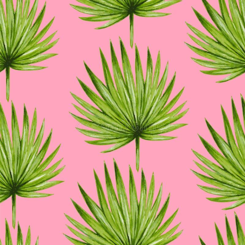 Teste padrão sem emenda das folhas de palmeira tropicais da aquarela ilustração stock