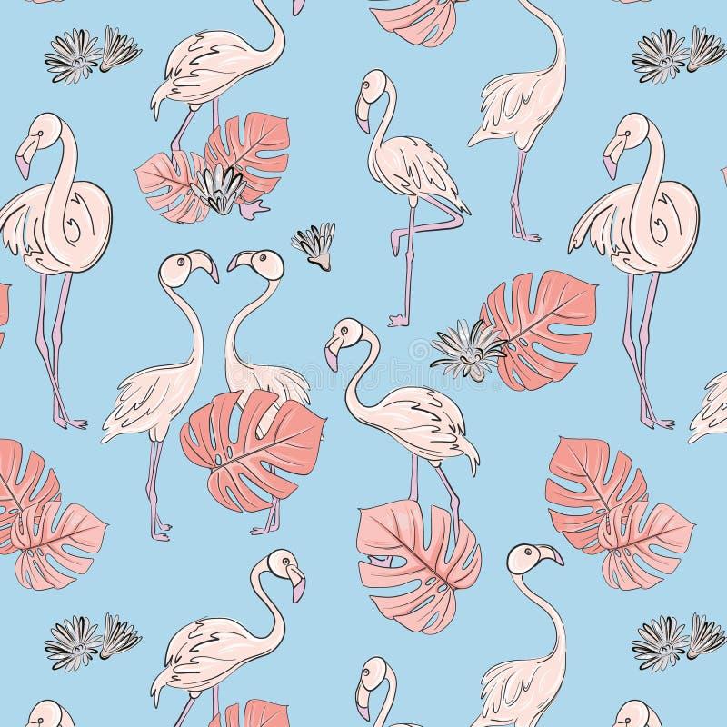 Teste padr?o sem emenda das folhas do flamingo e do monstera Decora??o tropical ex?tica C?pia do ber??rio do vetor ilustração stock