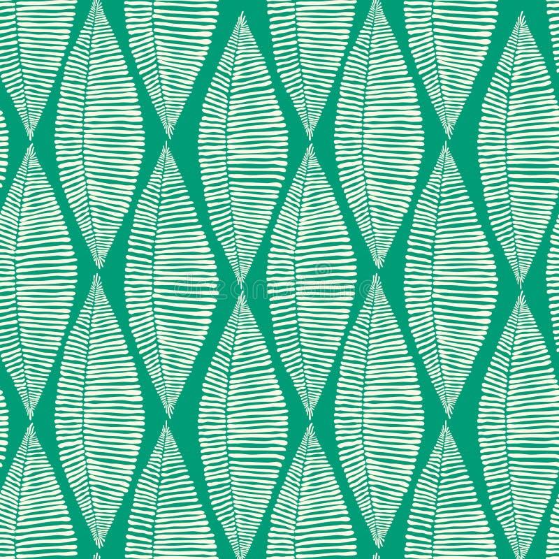 Teste padrão sem emenda das folhas tribais esmeraldas ilustração do vetor